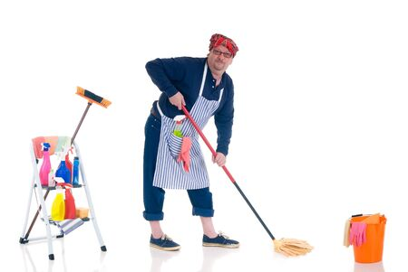 houseman: Houseman, the new man attending to daily household. Stock Photo