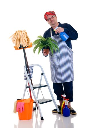 houseman: Houseman watering the plant, ladder with cleaning products, daily household.