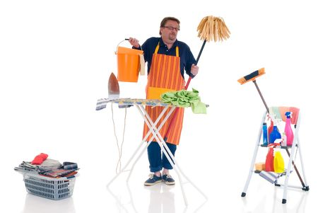 houseman: Houseman with cleansing tools doing household, cleaning and ironing