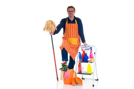 houseman: Houseman, the new man, ladder with cleaning products for daily household.
