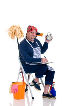 houseman: Houseman sitting on ladder with cleaning products for daily household.