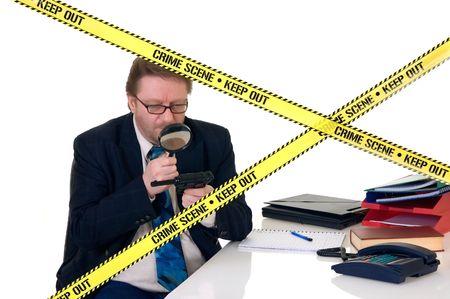CSI investigator researching office crime scene, taking fingerprints, weapon in foreground, white background, studio shot. Stock Photo - 3439004