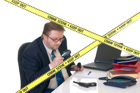 CSI investigator researching office crime scene, taking fingerprints, weapon in foreground, white background, studio shot. Stock Photo - 3467235