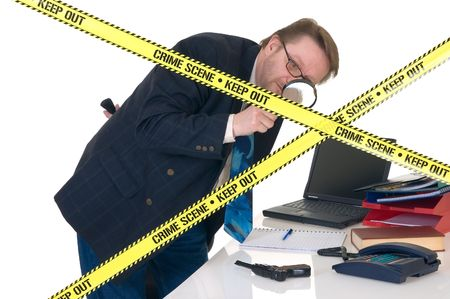 CSI investigator researching office crime scene, taking fingerprints, weapon in foreground, white background, studio shot. photo
