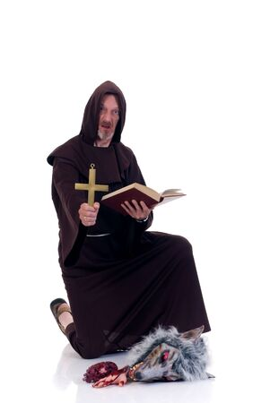 Halloween, fun and creepy, monk and creature on white background Stock Photo - 3527881