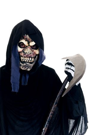 Halloween, fun and creepy, grim reaper on white background photo