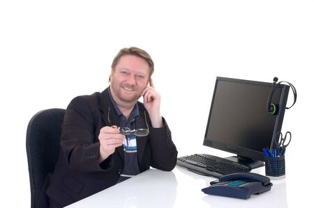 assured: Middle aged businessman, self assured, formal dressed, studio shot  Stock Photo