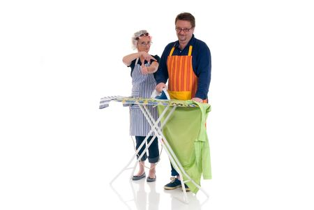 houseman: Houseman with ironing-board, housewife thumbs up, daily household