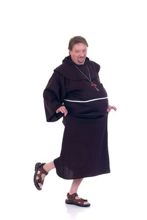 Halloween funny monk dancing on white background