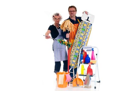 houseman: Houseman and housewife with ironing-board and ladder with cleaning products for daily household.