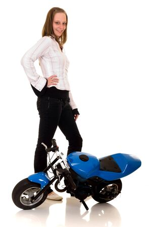 showoff: Youngster show off with her pocket-bike, studio shot on white background Stock Photo