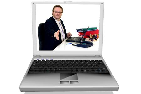 3D render of a businessman in laptop, notebook on a white reflective surface photo
