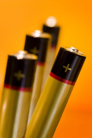 4 alcaline batteries with plenty of space to write on Stock Photo