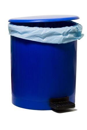 crap: blue empty bin with a plastic bag isolated against white background Stock Photo