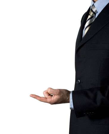 somewhere: This businessman is pointing somewhere in the blank space....just fill it with what you want! Stock Photo