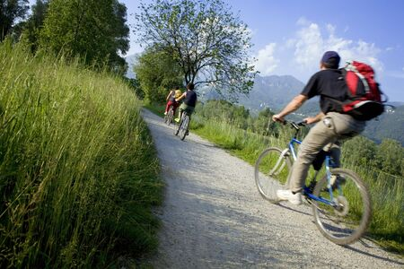 couple biking in the country