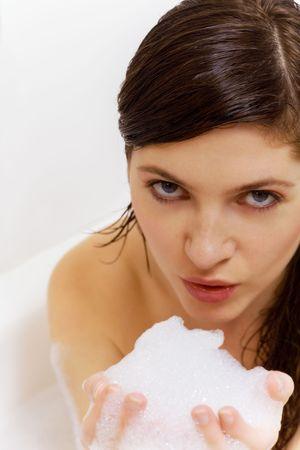 nice girl: nice girl playing with soap