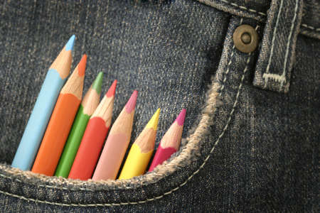 pencils in a jeans pocket Stock Photo