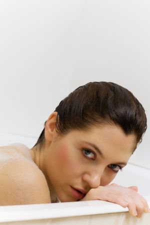 nice girl playing with soap photo