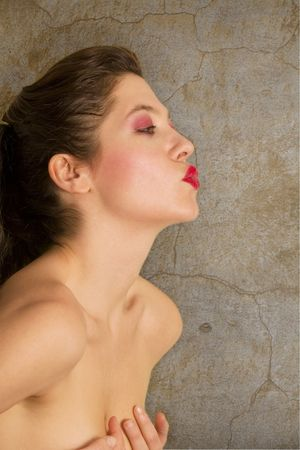 passionate kissing: beautiful girl kissing