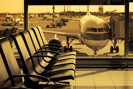 airport window: at the airport Stock Photo