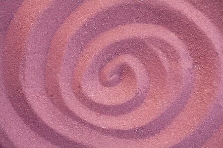 ridge of wave: round pattern printed in the sand Stock Photo