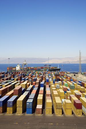 Panoramic view of containters in a harbour