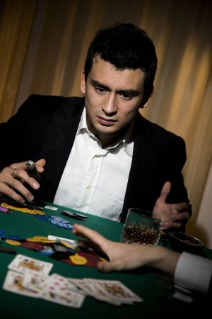What bloody rotten luck. This poor man has been left broke playing poker. Stock Photo - 684954
