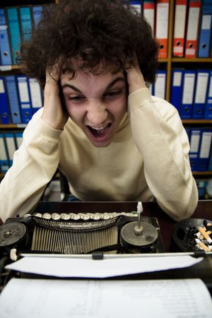 annoyance: author looking for inspiration...he cant find a good idea Stock Photo