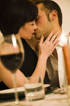 cherished: healthy living: young couple in love dining out Stock Photo