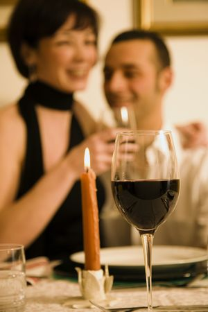 dining out: healthy living: young couple in love dining out Stock Photo