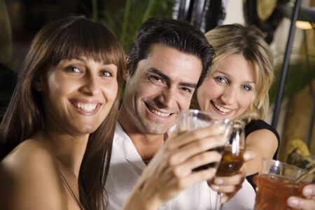 having fun: healthy living: friends at a restaurant having fun together Stock Photo