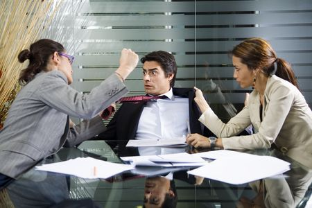 Office life: business team having a fight Stock Photo - 980328