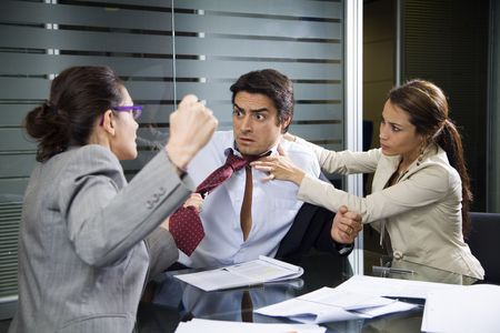 workplace: Office life: business team having a fight