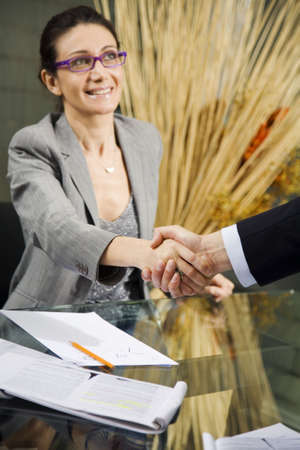 officeworker: People at work: man and woman hand shaking at a meeting Stock Photo
