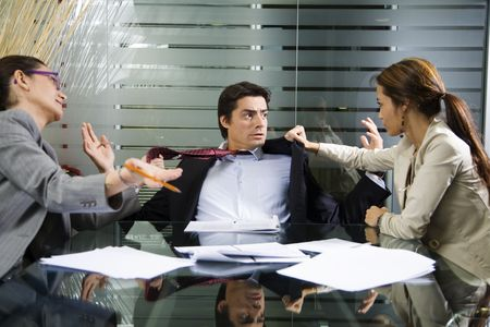 violence in the workplace: Office life: business team having a fight