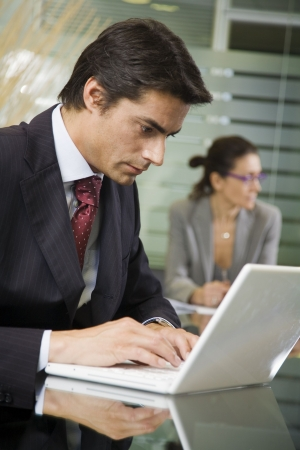 successfulness: People at work: businessman working with laptop during a meeting