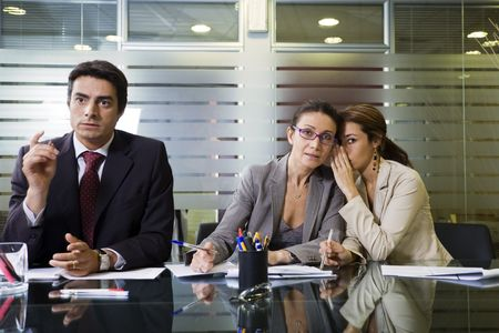 involved: Office life: business team involved in a meeting