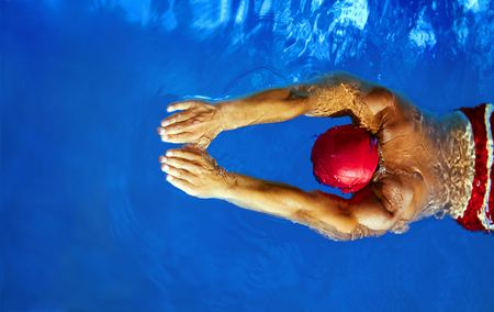 Healthy lifestyle: this swimmer is winning the contest  Stock Photo - 1290418
