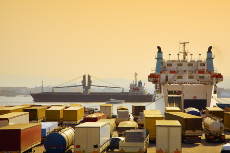 industry and commerce: trucks parked in a harbor  photo
