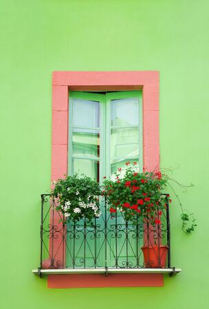 sweet home: hogar dulce hogar: verde contra la ventana de un muro verde  Foto de archivo