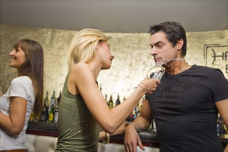 girls night out: guy flirting with a girl...without success