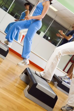 health club: health club: group of people doing aerobics