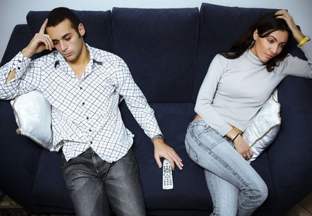 divorcing: relationship difficulties: young couple having a fight
