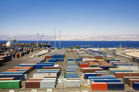 shipped: industry and commerce: panoramic view of containters in a harbour
