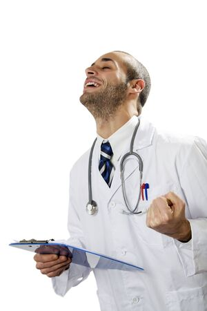 expressing positivity: healthcare and medicine: young doctor expressing positivity