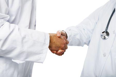 doctores: cuidado de la salud y la medicina: los m�dicos agitando las manos  Foto de archivo