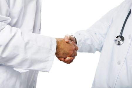 men shaking hands: healthcare and medicine: doctors shaking hands
