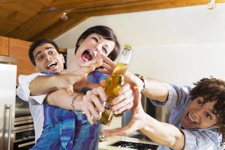 girl fighting: domestic life: friends competing for the last beer