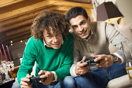 videogame: men having fun with a new videogame